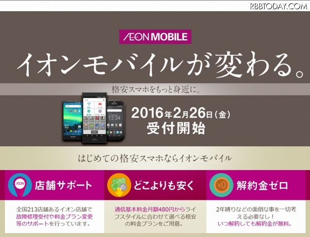 「イオンモバイル」サイトトップページ