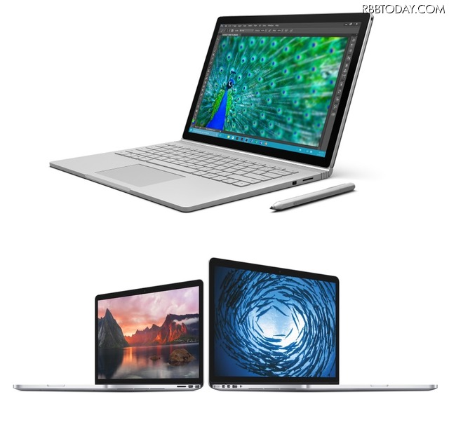 Surface Book(上)と、MacBook Pro with Retina Display(下)