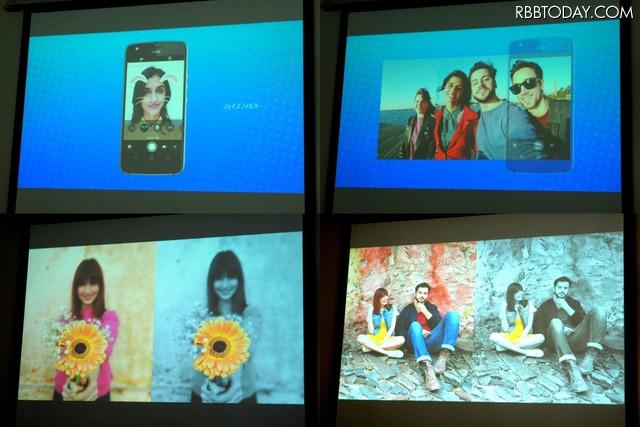 フェイスフィルター、パノラマ・セルフィー、セレクティブ・モノクロ、スポットカラーの利用イメージ