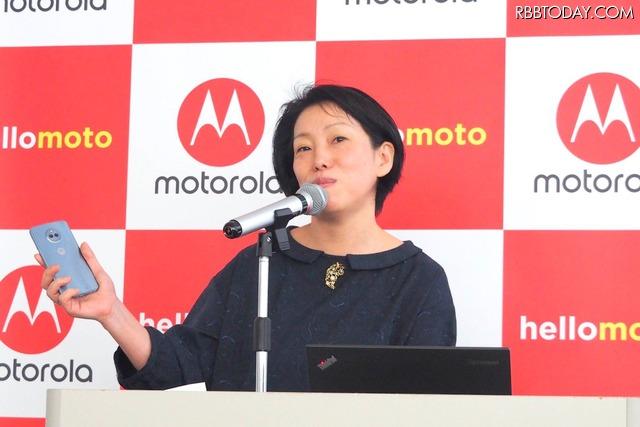 モトローラ・モビリティ・ジャパン 島田日登美氏。女性に向けた機能、カラバリなども今後は充実させていきたいと話した