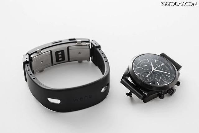 wena(TM) wrist active 『WA-01A/B』 (ブラック)と、wena(TM) wrist Solar head 『WH-CS01/B』 (ブラック)