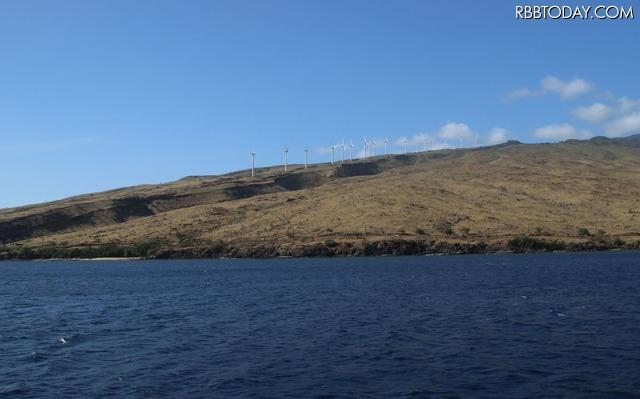 マウイ島の風力発電。ここは見通しがいいためか、ホテルより高い数値がでた