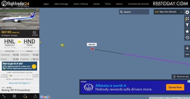 ANAの機内Wi-Fiでフライトレーダー24を試す