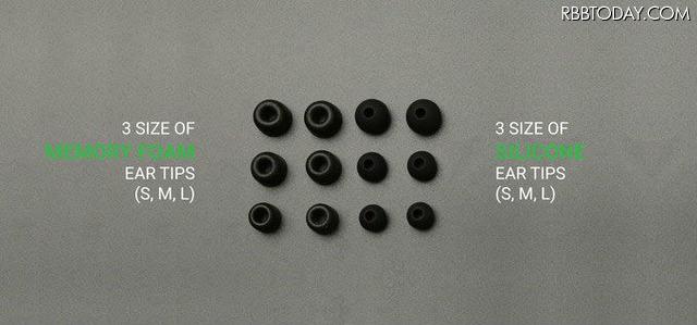 シリコンと形状記憶フォームの2種類のイヤピースがSMLで3サイズ付属