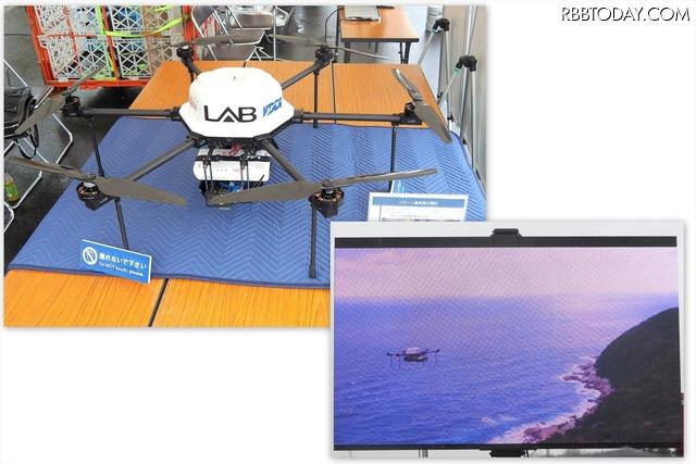 シーン4「ドローン基地局の出動訓練」。ドローン基地局には2GHz LTE超小型基地局、2GHz小型アンテナ、800MHz LTE端末(バックホール用)などが搭載されている