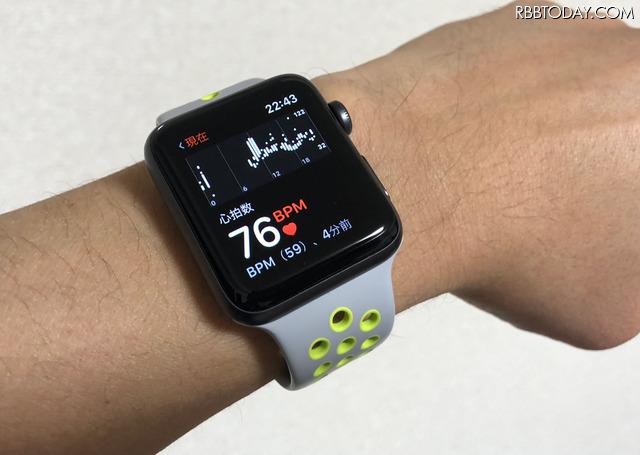 Apple Watchから常時心拍数を確認できる