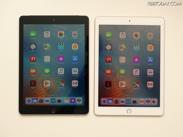 新しい9.7インチiPad(左:スペースグレイ)と9.7インチiPad Pro(右:ローズゴールド)を比較してみる