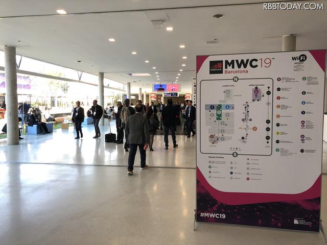 MWCの会場は広いが構造はシンプル。まわりやすくレイアウトされている
