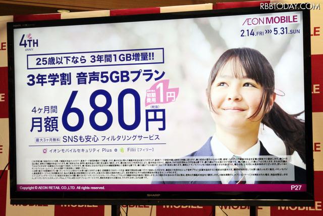 「3年学割」で高速データ通信容量が1GB増量